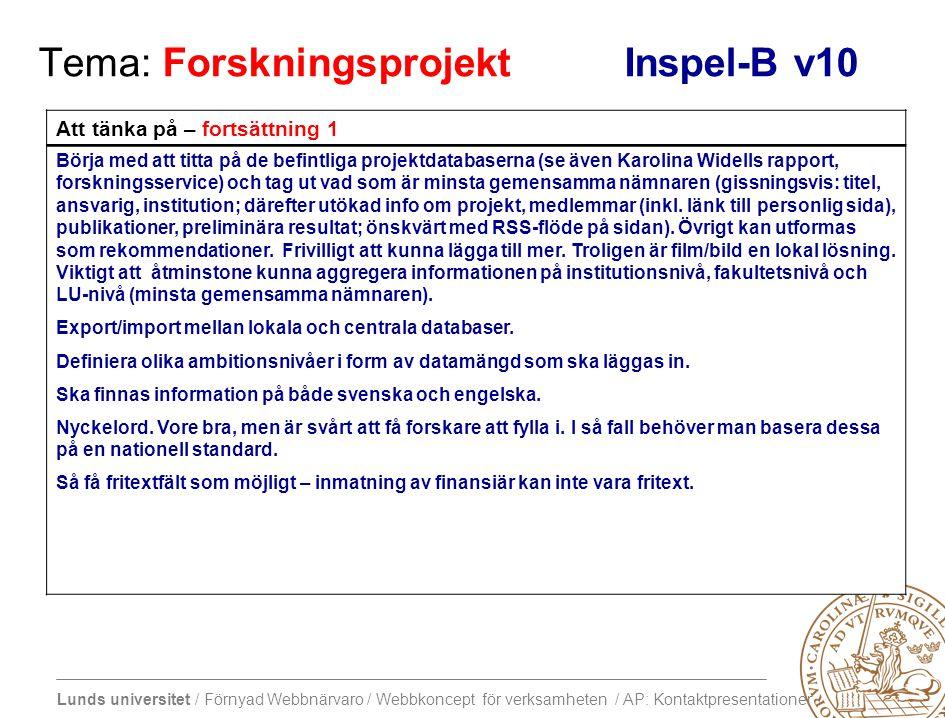Lunds universitet / Förnyad Webbnärvaro / Webbkoncept för verksamheten / AP: Kontaktpresentationer Tema: Forskningsprojekt Inspel-B v10 Att tänka på – fortsättning 1 Börja med att titta på de befintliga projektdatabaserna (se även Karolina Widells rapport, forskningsservice) och tag ut vad som är minsta gemensamma nämnaren (gissningsvis: titel, ansvarig, institution; därefter utökad info om projekt, medlemmar (inkl.