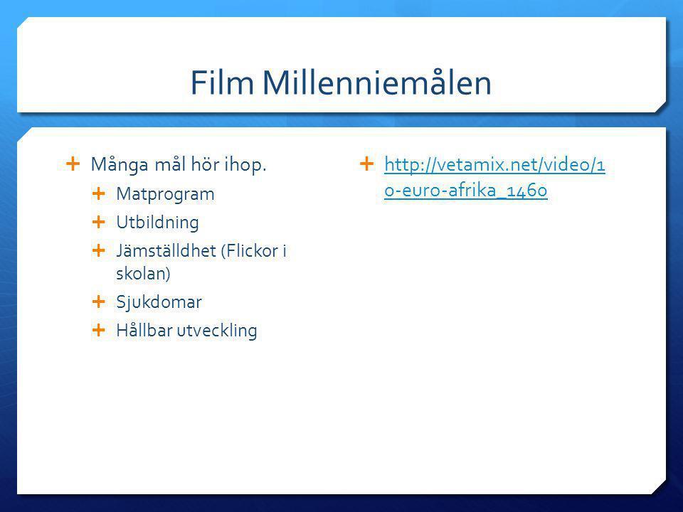 Film Millenniemålen  Många mål hör ihop.  Matprogram  Utbildning  Jämställdhet (Flickor i skolan)  Sjukdomar  Hållbar utveckling  http://vetami