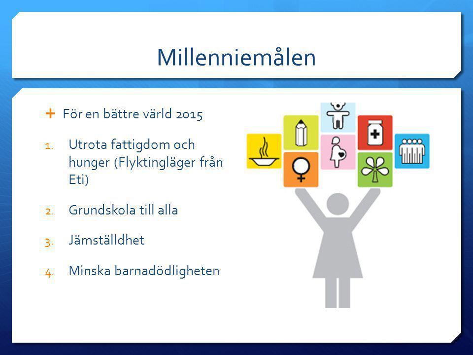 Millenniemålen  För en bättre värld 2015 1. Utrota fattigdom och hunger (Flyktingläger från Eti) 2. Grundskola till alla 3. Jämställdhet 4. Minska ba