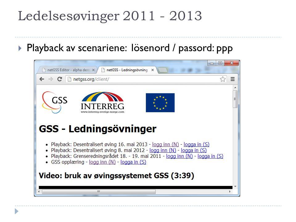 Ledelsesøvinger 2011 - 2013  Playback av scenariene: lösenord / passord: ppp