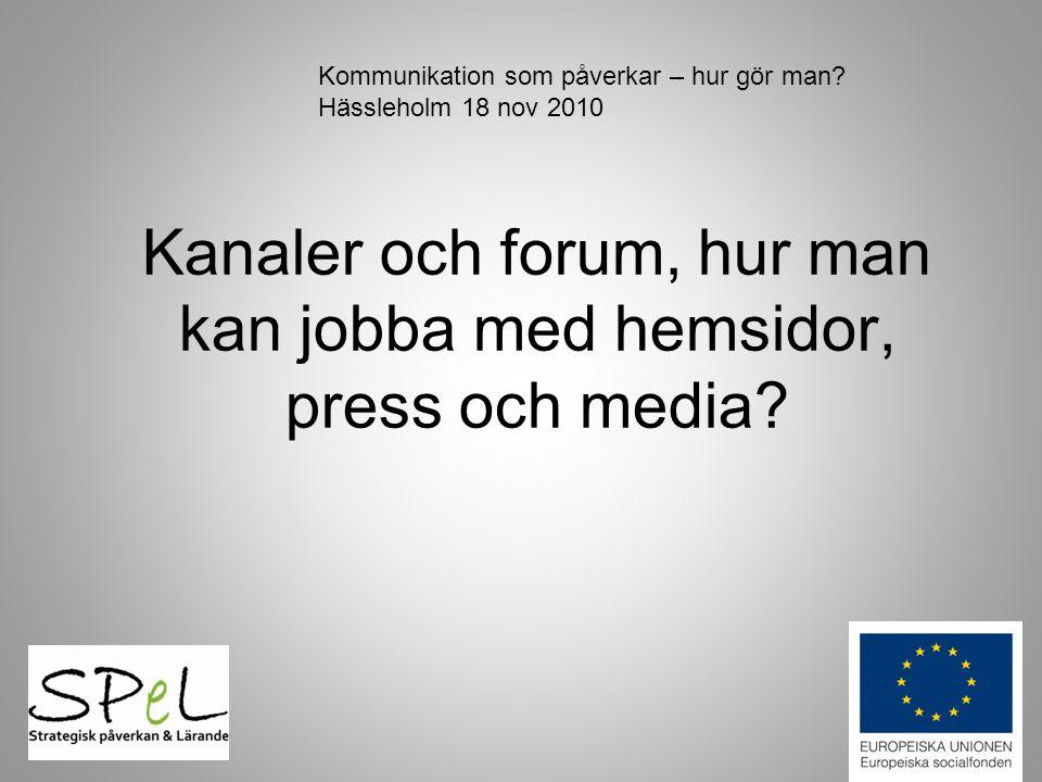 Kanaler och forum, hur man kan jobba med hemsidor, press och media? Kommunikation som påverkar – hur gör man? Hässleholm 18 nov 2010