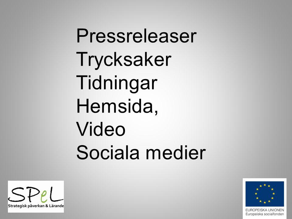Pressreleaser Trycksaker Tidningar Hemsida, Video Sociala medier