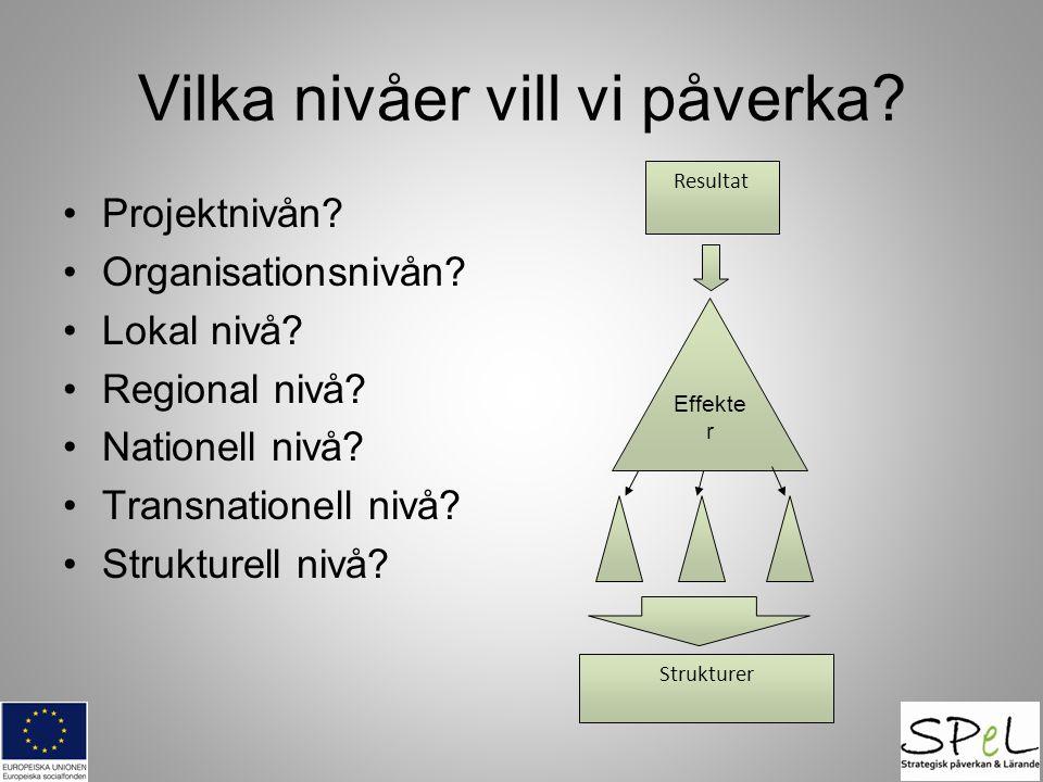 Vilka nivåer vill vi påverka? •Projektnivån? •Organisationsnivån? •Lokal nivå? •Regional nivå? •Nationell nivå? •Transnationell nivå? •Strukturell niv