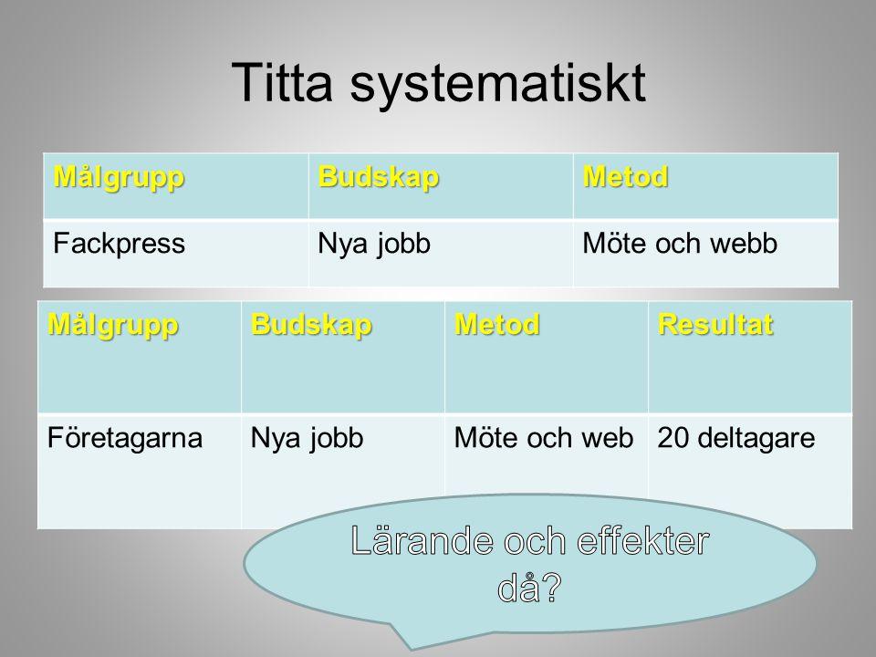 Titta systematisktMålgruppBudskapMetod FackpressNya jobbMöte och webb MålgruppBudskapMetodResultat FöretagarnaNya jobbMöte och web20 deltagare