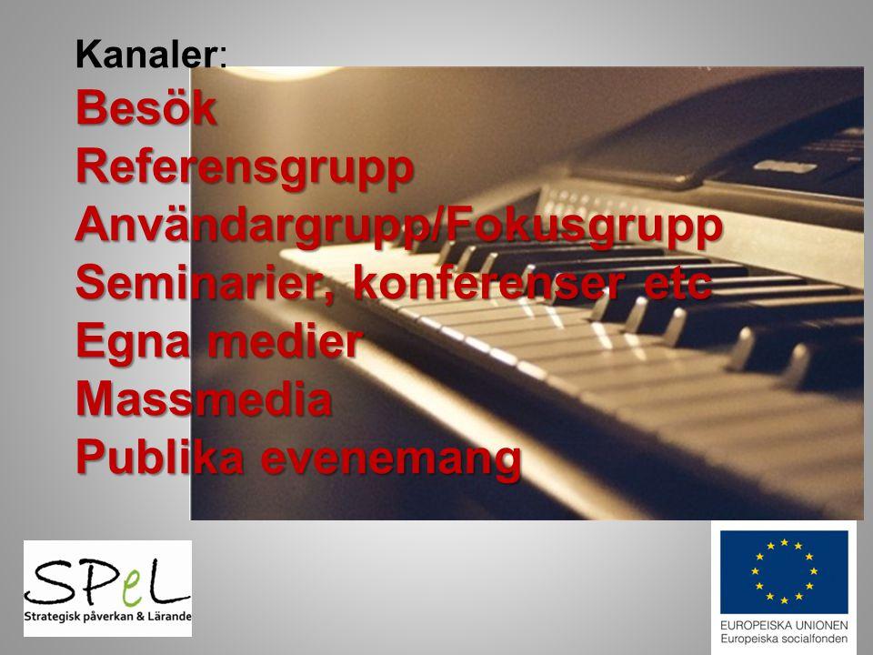 Besök Referensgrupp Användargrupp/Fokusgrupp Seminarier, konferenser etc Egna medier Massmedia Publika evenemang Kanaler: Besök Referensgrupp Användar
