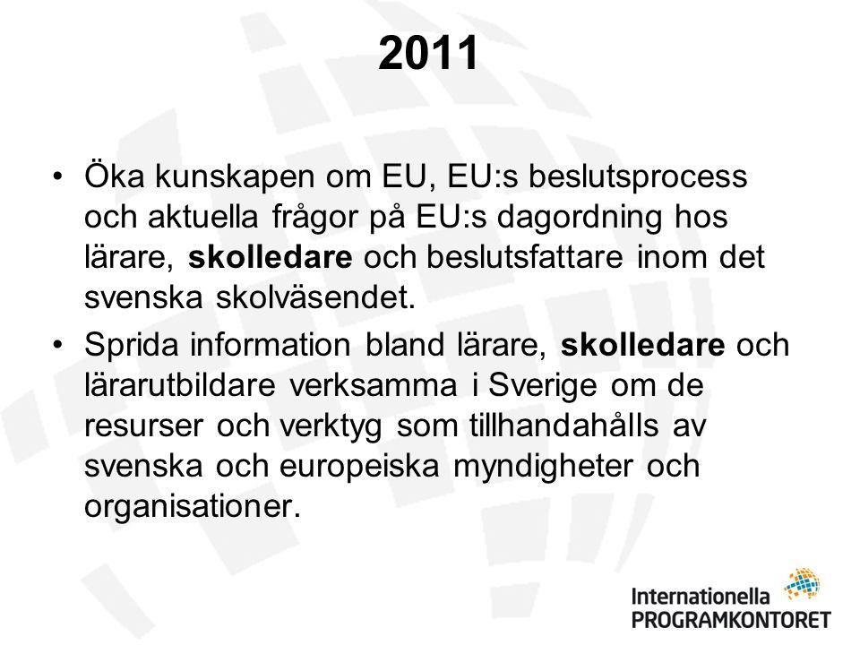 2011 •Öka kunskapen om EU, EU:s beslutsprocess och aktuella frågor på EU:s dagordning hos lärare, skolledare och beslutsfattare inom det svenska skolväsendet.