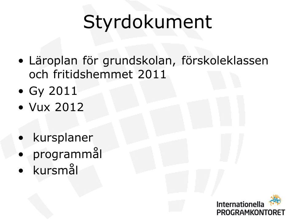 Styrdokument •Läroplan för grundskolan, förskoleklassen och fritidshemmet 2011 •Gy 2011 •Vux 2012 • kursplaner • programmål • kursmål