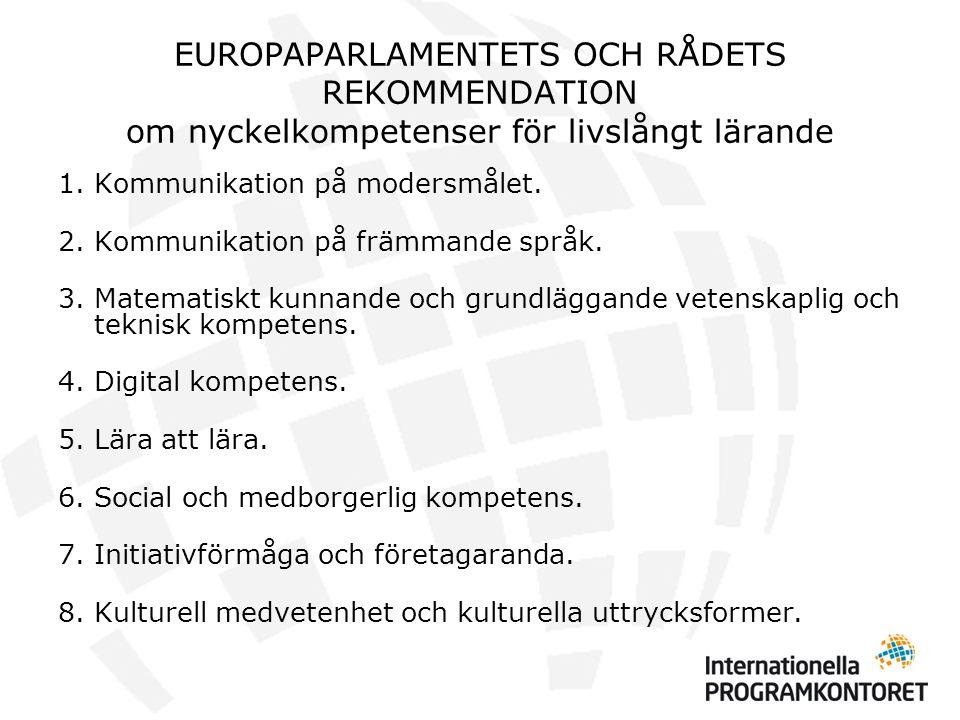EUROPAPARLAMENTETS OCH RÅDETS REKOMMENDATION om nyckelkompetenser för livslångt lärande 1.