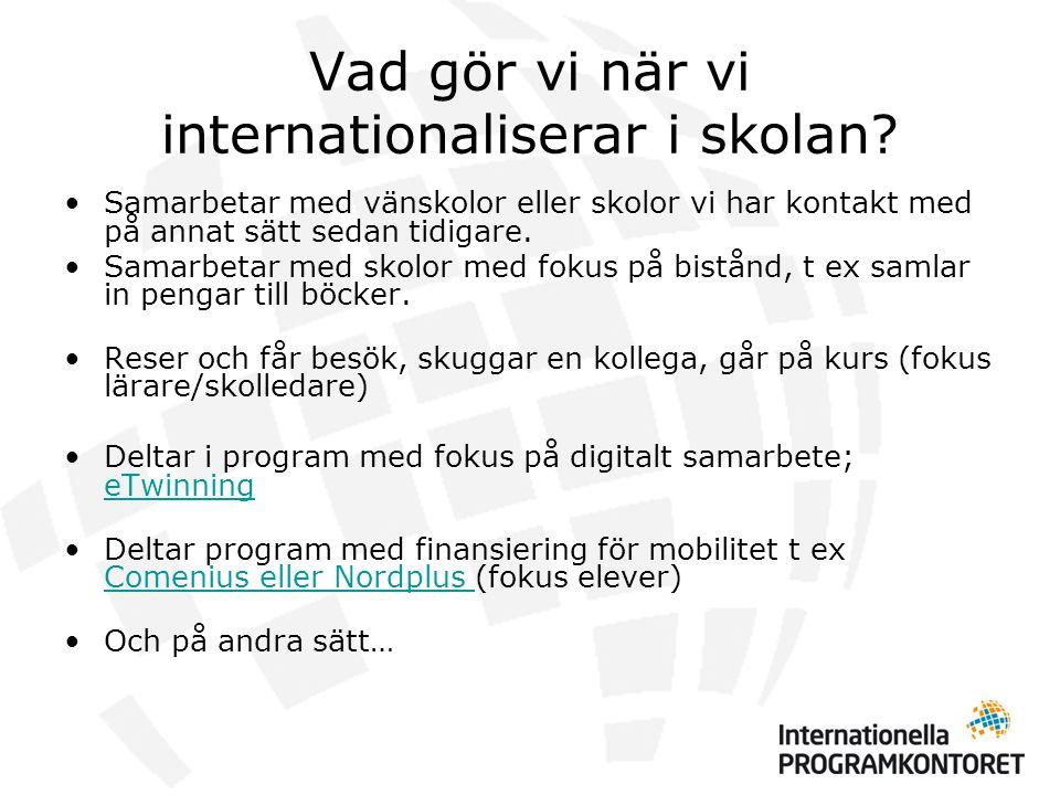 Vad gör vi när vi internationaliserar i skolan.