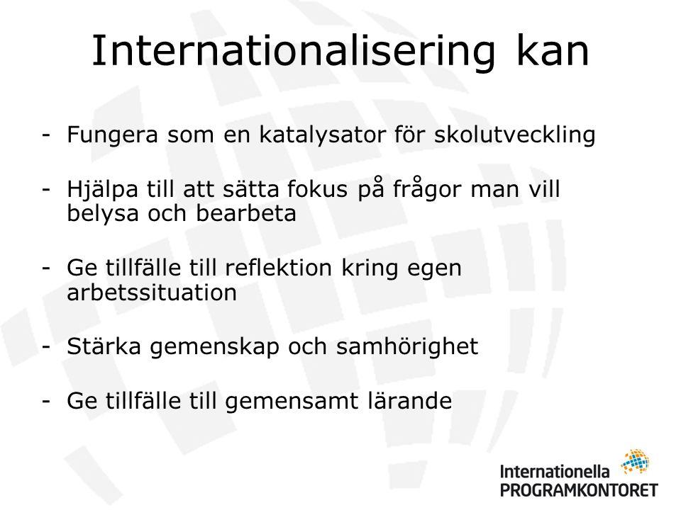 Internationalisering kan -Fungera som en katalysator för skolutveckling -Hjälpa till att sätta fokus på frågor man vill belysa och bearbeta -Ge tillfälle till reflektion kring egen arbetssituation -Stärka gemenskap och samhörighet -Ge tillfälle till gemensamt lärande