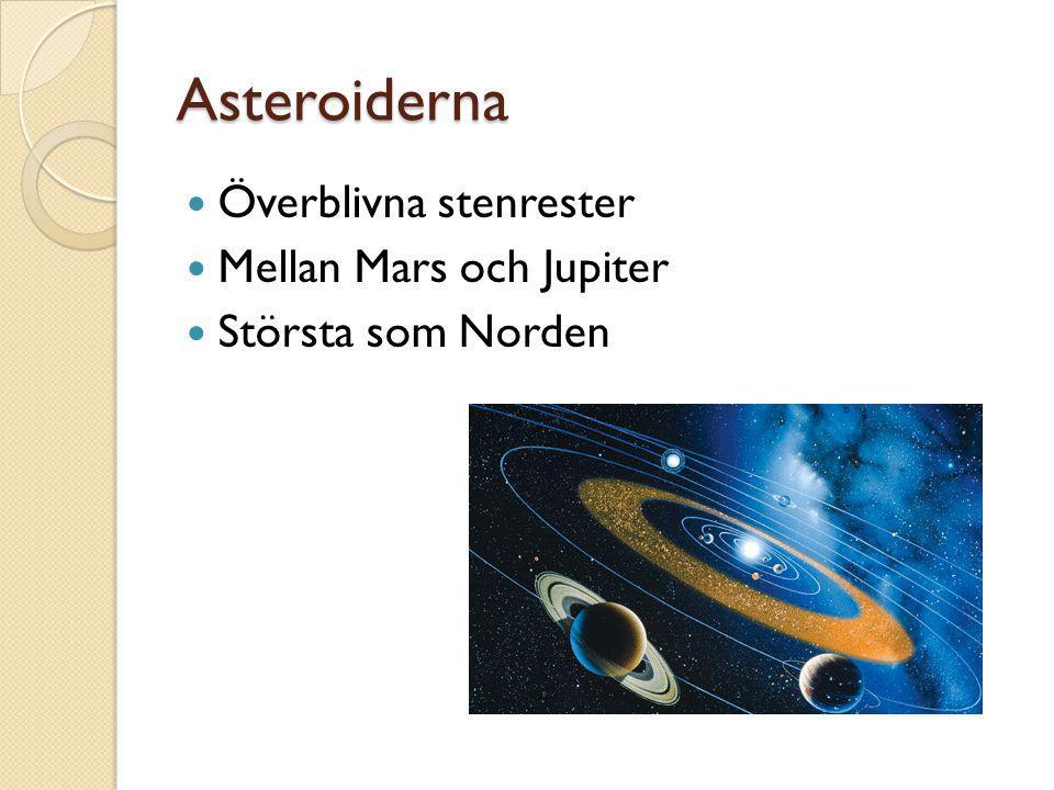 Asteroiderna  Överblivna stenrester  Mellan Mars och Jupiter  Största som Norden