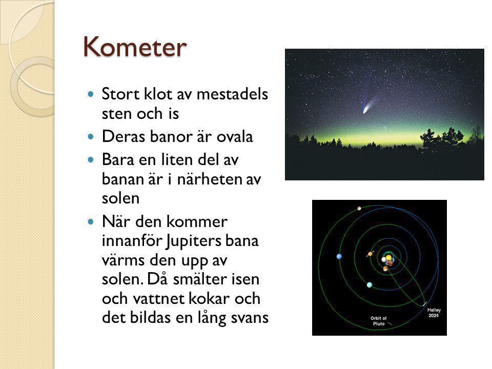Kometer  Stort klot av mestadels sten och is  Deras banor är ovala  Bara en liten del av banan är i närheten av solen  När den kommer innanför Jup