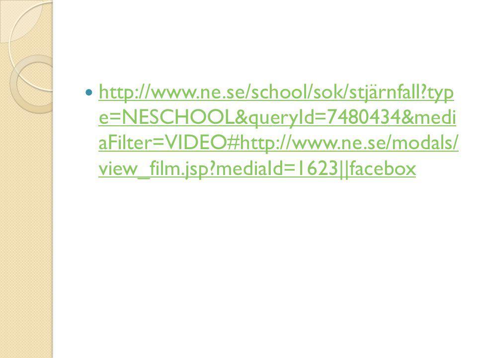  http://www.ne.se/school/sok/stjärnfall?typ e=NESCHOOL&queryId=7480434&medi aFilter=VIDEO#http://www.ne.se/modals/ view_film.jsp?mediaId=1623||facebo