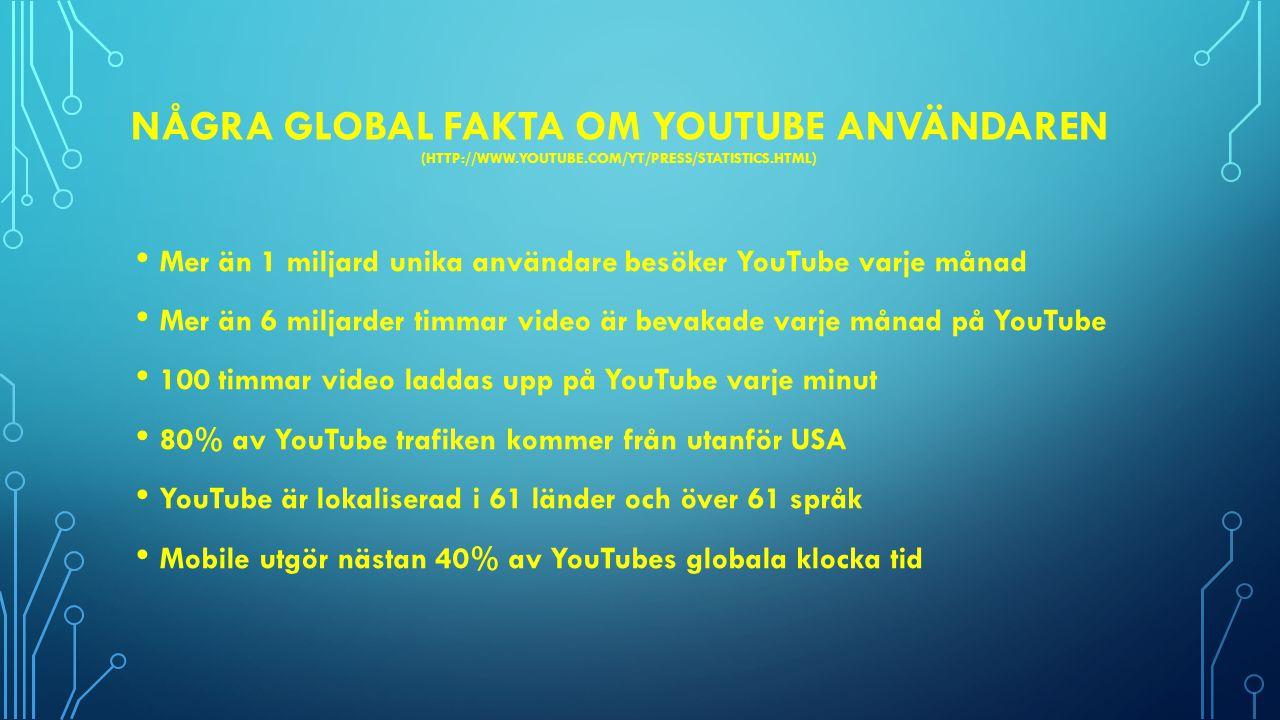 NÅGRA LOKAL FAKTA OM YOUTUBE ANVÄNDARE Sverige genererar 0,7% av sidvisningar på YouTube (http://www.appappeal.com/maps/youtube)http://www.appappeal.com/maps/youtube