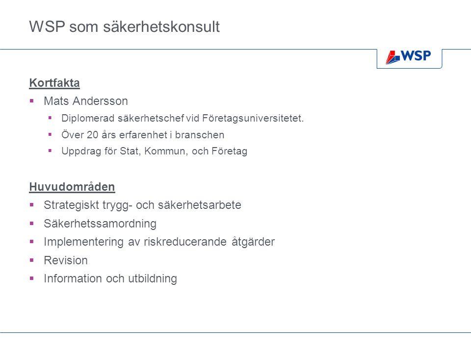 WSP som säkerhetskonsult Kortfakta  Mats Andersson  Diplomerad säkerhetschef vid Företagsuniversitetet.  Över 20 års erfarenhet i branschen  Uppdr