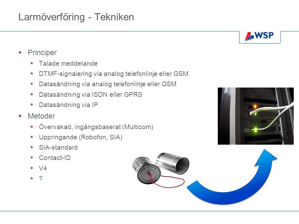 Larmöverföring - Tekniken  Principer  Talade meddelande  DTMF-signalering via analog telefonlinje eller GSM  Datasändning via analog telefonlinje