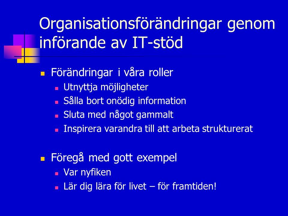 Organisationsförändringar genom införande av IT-stöd  Förändringar i våra roller  Utnyttja möjligheter  Sålla bort onödig information  Sluta med n