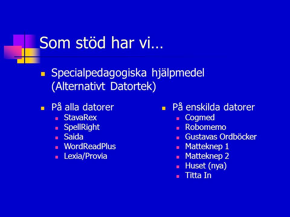 Som stöd har vi…  Specialpedagogiska hjälpmedel (Alternativt Datortek)  På alla datorer  StavaRex  SpellRight  Saida  WordReadPlus  Lexia/Provi