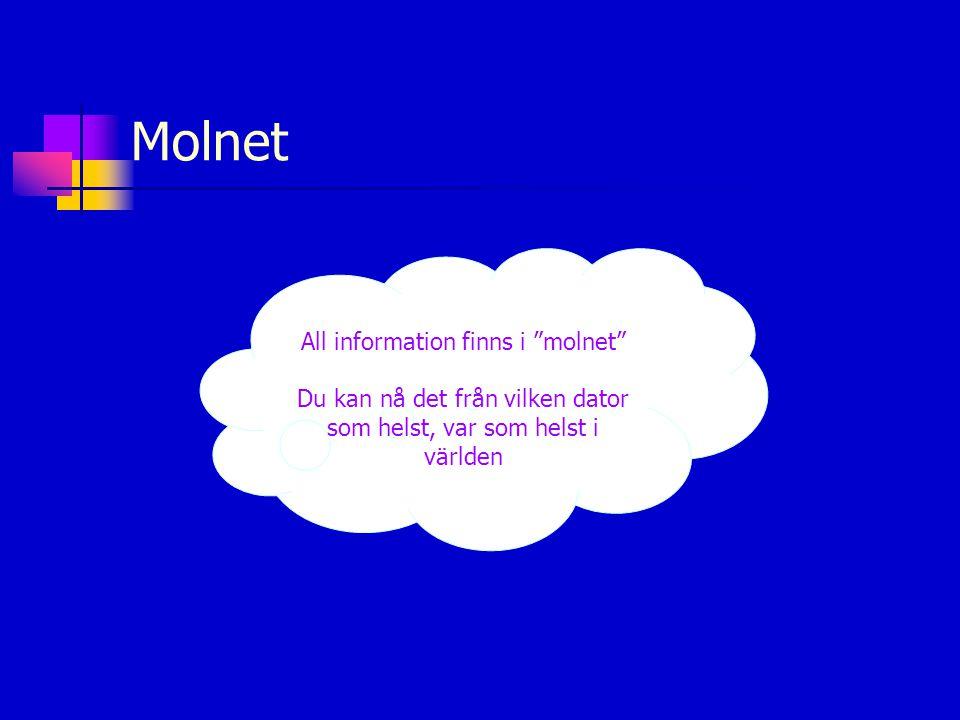"""Molnet All information finns i """"molnet"""" Du kan nå det från vilken dator som helst, var som helst i världen"""