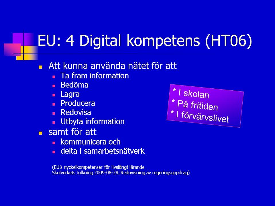 EU: 4 Digital kompetens (HT06)  Att kunna använda nätet för att  Ta fram information  Bedöma  Lagra  Producera  Redovisa  Utbyta information 