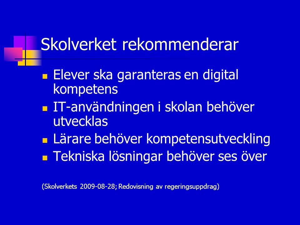 Skolverket rekommenderar  Elever ska garanteras en digital kompetens  IT-användningen i skolan behöver utvecklas  Lärare behöver kompetensutvecklin