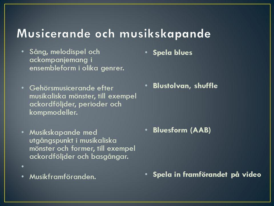 • Spela blues • Blustolvan, shuffle • Bluesform (AAB) • Spela in framförandet på video • Sång, melodispel och ackompanjemang i ensembleform i olika ge