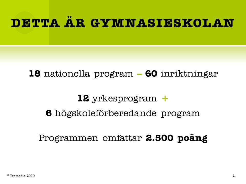DETTA ÄR GYMNASIESKOLAN 18 nationella program – 60 inriktningar 12 yrkesprogram + 6 högskoleförberedande program Programmen omfattar 2.500 poäng 1 © T