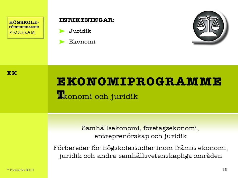 EKONOMIPROGRAMME T Ekonomi och juridik INRIKTNINGAR: Juridik Ekonomi Samhällsekonomi, företagsekonomi, entreprenörskap och juridik Förbereder för högs