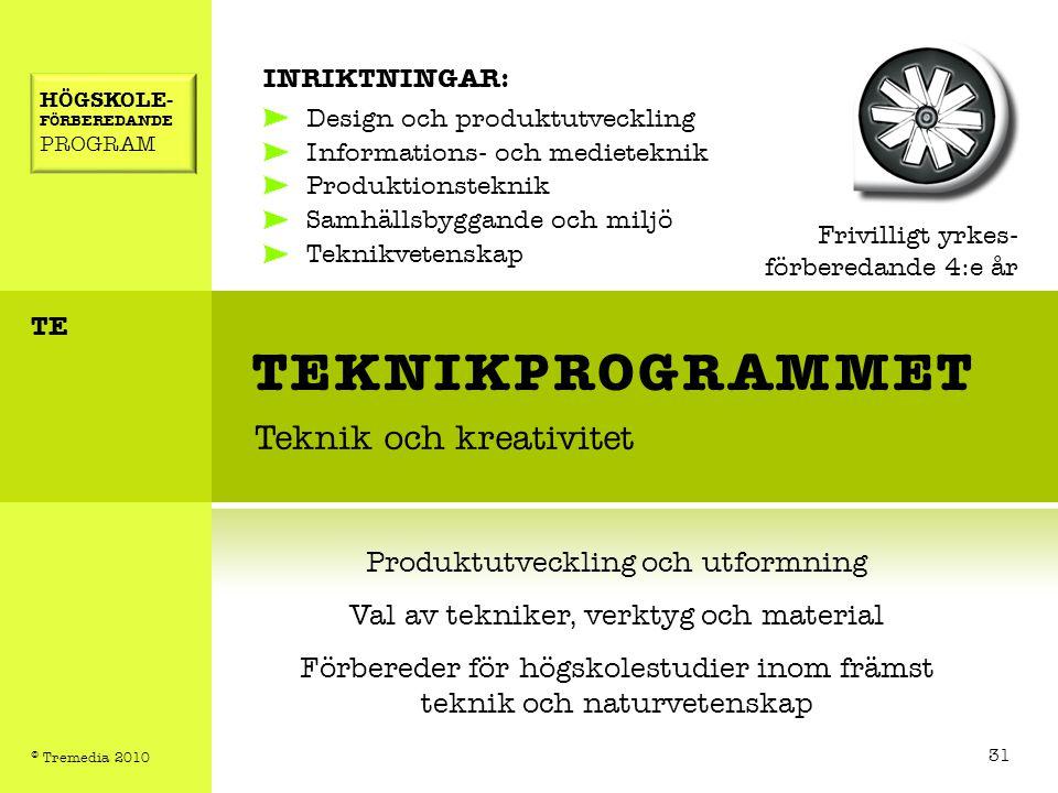 TEKNIKPROGRAMMET Teknik och kreativitet INRIKTNINGAR: Design och produktutveckling Informations- och medieteknik Produktionsteknik Samhällsbyggande oc