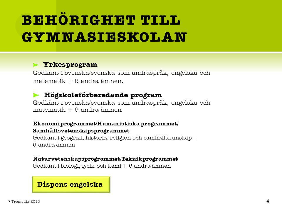 BEHÖRIGHET TILL GYMNASIESKOLAN Yrkesprogram Godkänt i svenska/svenska som andraspråk, engelska och matematik + 5 andra ämnen. Högskoleförberedande pro