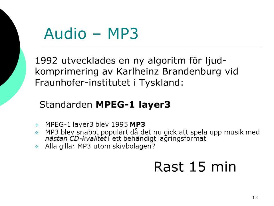 13 Audio – MP3 1992 utvecklades en ny algoritm för ljud- komprimering av Karlheinz Brandenburg vid Fraunhofer-institutet i Tyskland: Standarden MPEG-1
