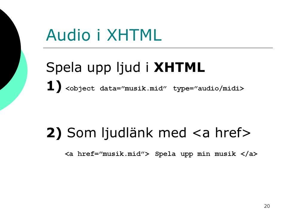 20 Audio i XHTML Spela upp ljud i XHTML 1) 2) Som ljudlänk med Spela upp min musik
