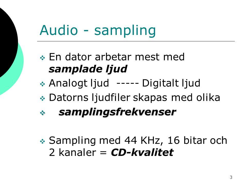 3 Audio - sampling  En dator arbetar mest med samplade ljud  Analogt ljud ----- Digitalt ljud  Datorns ljudfiler skapas med olika  samplingsfrekve