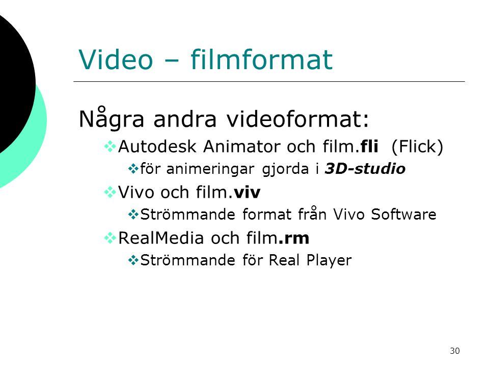 30 Video – filmformat Några andra videoformat:  Autodesk Animator och film.fli (Flick)  för animeringar gjorda i 3D-studio  Vivo och film.viv  Str