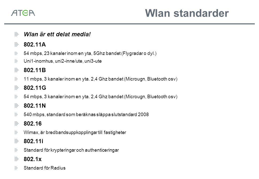 Wlan standarder Wlan är ett delat media! 802.11A 54 mbps, 23 kanaler inom en yta, 5Ghz bandet (Flygradar o dyl.) Uni1-inomhus, uni2-inne/ute, uni3-ute