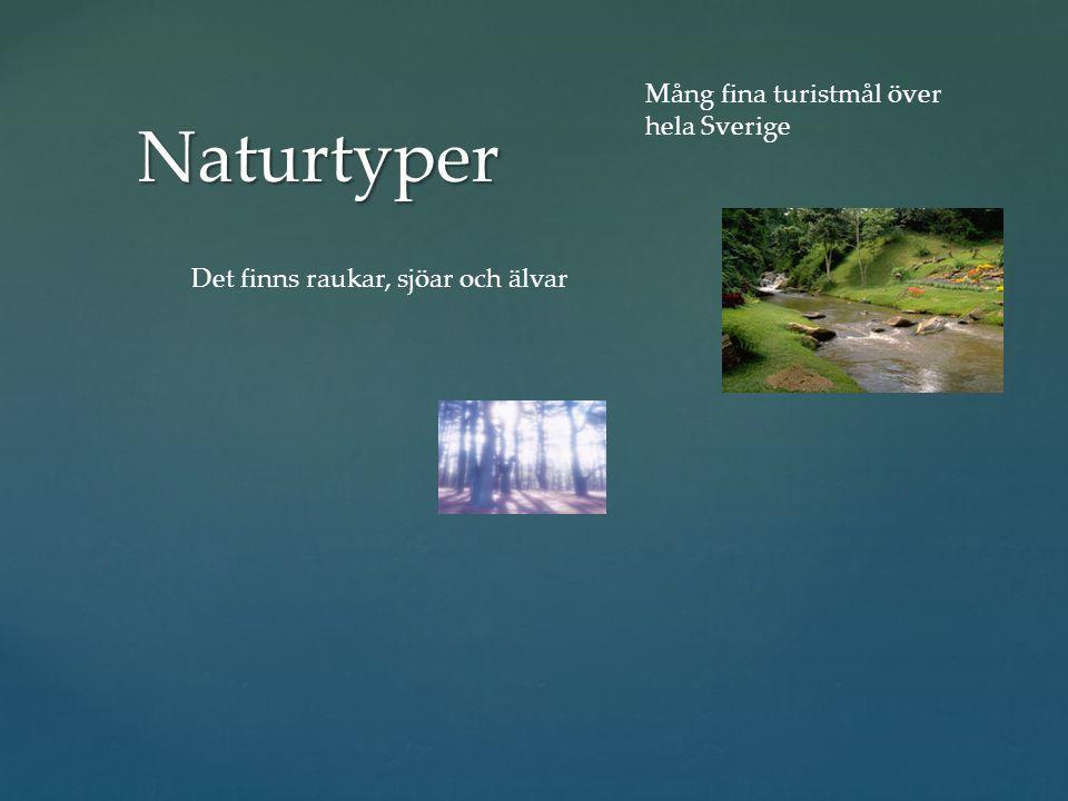Naturtyper Det finns raukar, sjöar och älvar Mång fina turistmål över hela Sverige