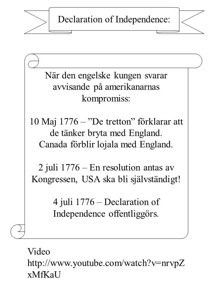 """Declaration of Independence: När den engelske kungen svarar avvisande på amerikanarnas kompromiss: 10 Maj 1776 – """"De tretton"""" förklarar att de tänker"""