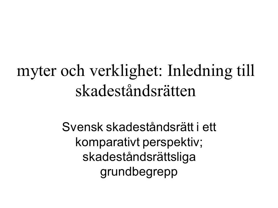 myter och verklighet: Inledning till skadeståndsrätten Svensk skadeståndsrätt i ett komparativt perspektiv; skadeståndsrättsliga grundbegrepp