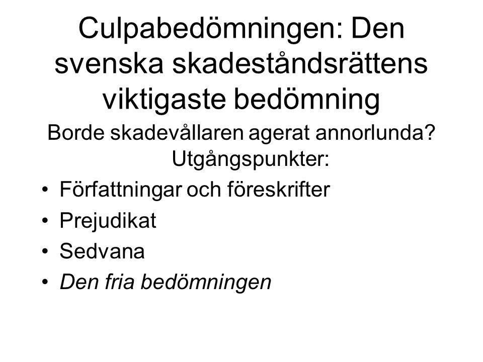 Culpabedömningen: Den svenska skadeståndsrättens viktigaste bedömning Borde skadevållaren agerat annorlunda.
