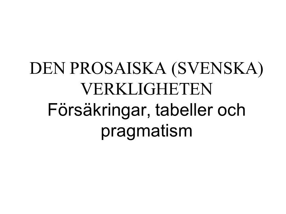 DEN PROSAISKA (SVENSKA) VERKLIGHETEN Försäkringar, tabeller och pragmatism
