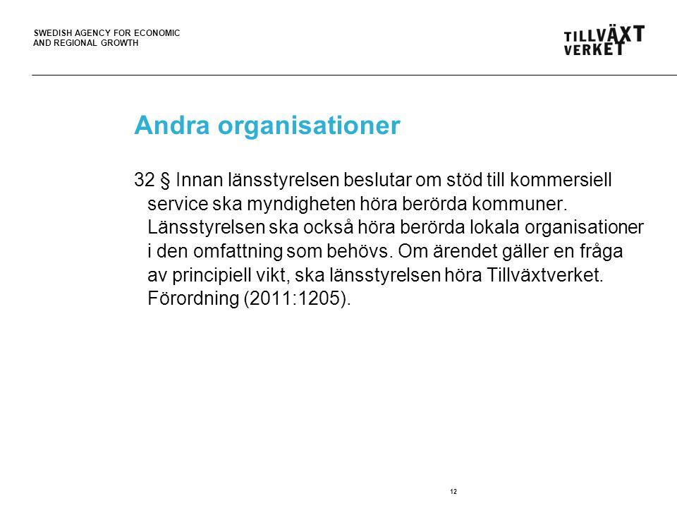 SWEDISH AGENCY FOR ECONOMIC AND REGIONAL GROWTH 12 Andra organisationer 32 § Innan länsstyrelsen beslutar om stöd till kommersiell service ska myndigh