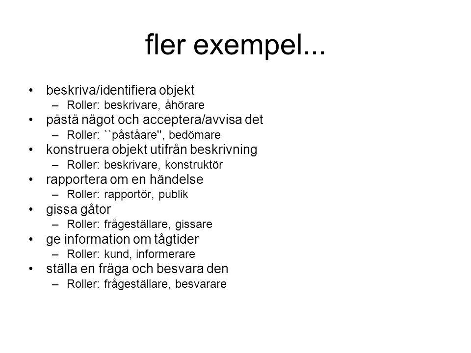 fler exempel... •beskriva/identifiera objekt –Roller: beskrivare, åhörare •påstå något och acceptera/avvisa det –Roller: ``påståare'', bedömare •konst