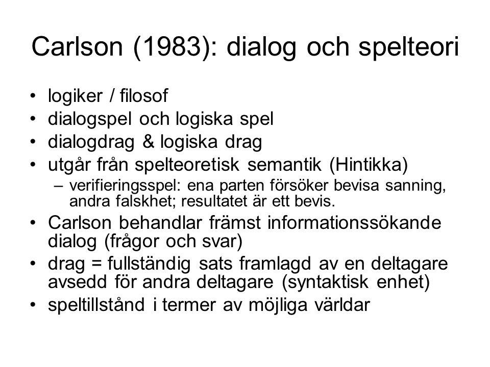 Carlson (1983): dialog och spelteori •logiker / filosof •dialogspel och logiska spel •dialogdrag & logiska drag •utgår från spelteoretisk semantik (Hi