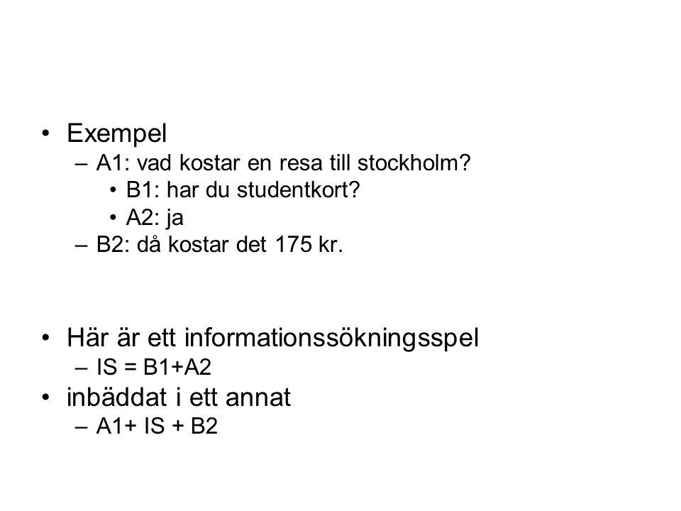•Exempel –A1: vad kostar en resa till stockholm? •B1: har du studentkort? •A2: ja –B2: då kostar det 175 kr. •Här är ett informationssökningsspel –IS