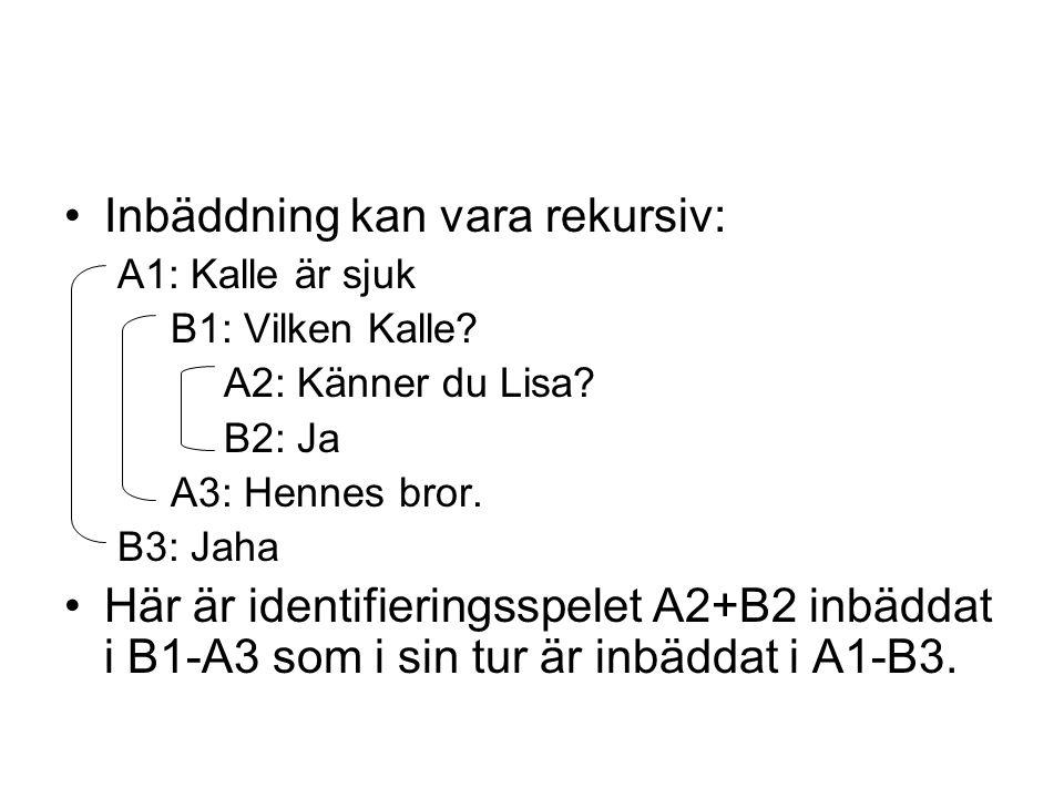 •Inbäddning kan vara rekursiv: A1: Kalle är sjuk B1: Vilken Kalle? A2: Känner du Lisa? B2: Ja A3: Hennes bror. B3: Jaha •Här är identifieringsspelet A