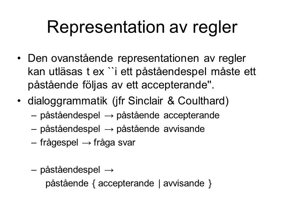Representation av regler •Den ovanstående representationen av regler kan utläsas t ex ``i ett påståendespel måste ett påstående följas av ett accepter