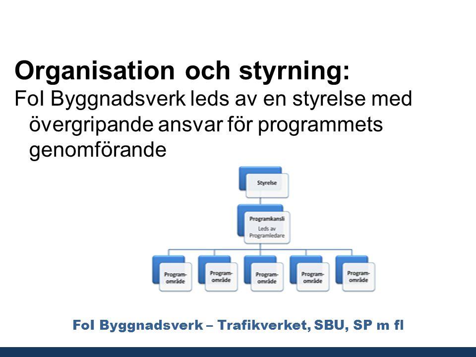FoI Byggnadsverk – Trafikverket, SBU, SP m fl Organisation och styrning: FoI Byggnadsverk leds av en styrelse med övergripande ansvar för programmets