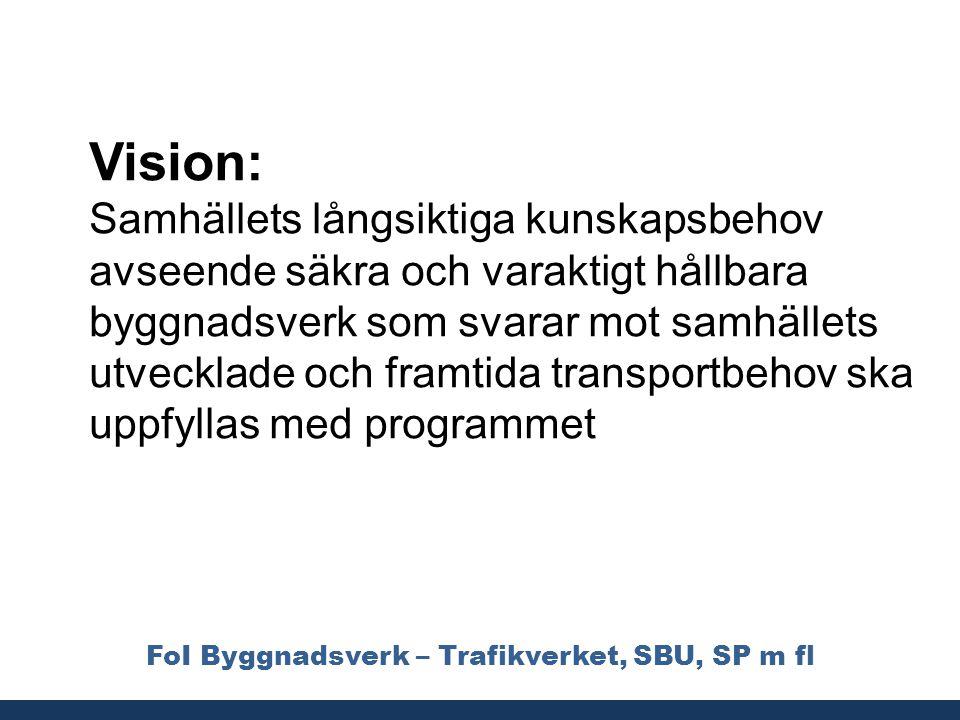 FoI Byggnadsverk – Trafikverket, SBU, SP m fl Vision: Samhällets långsiktiga kunskapsbehov avseende säkra och varaktigt hållbara byggnadsverk som svar