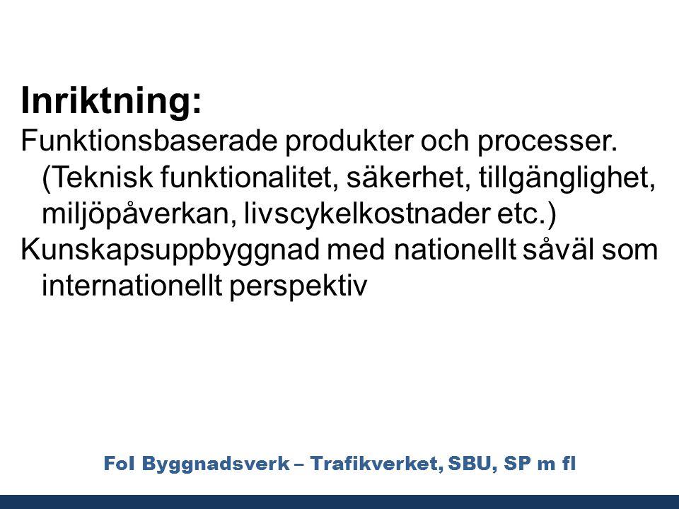FoI Byggnadsverk – Trafikverket, SBU, SP m fl Inriktning: Funktionsbaserade produkter och processer. (Teknisk funktionalitet, säkerhet, tillgänglighet