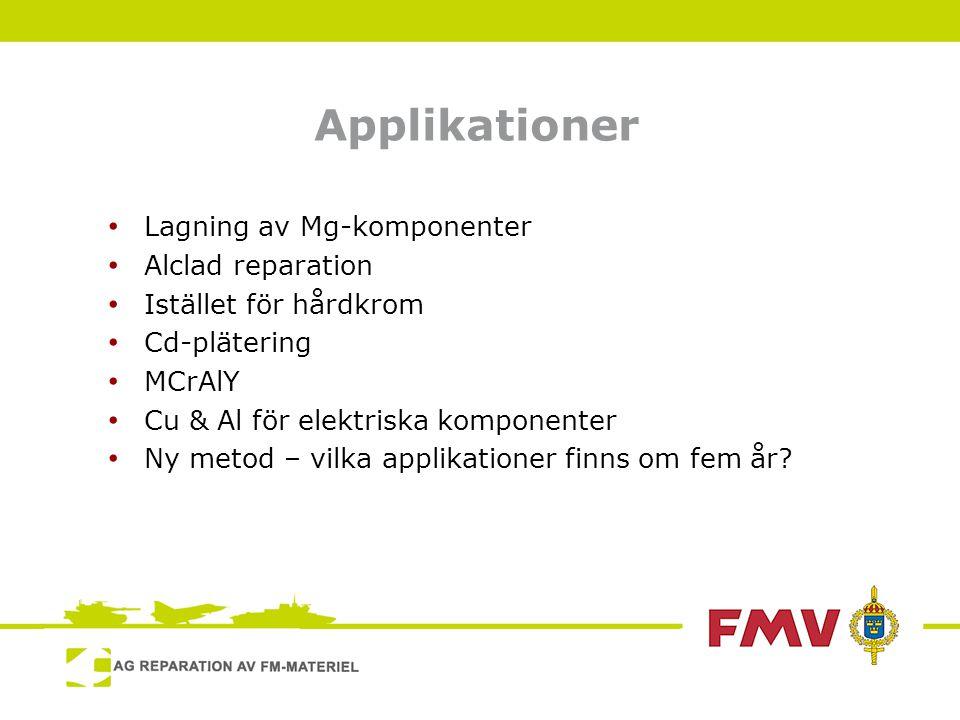 Applikationer • Lagning av Mg-komponenter • Alclad reparation • Istället för hårdkrom • Cd-plätering • MCrAlY • Cu & Al för elektriska komponenter • Ny metod – vilka applikationer finns om fem år?